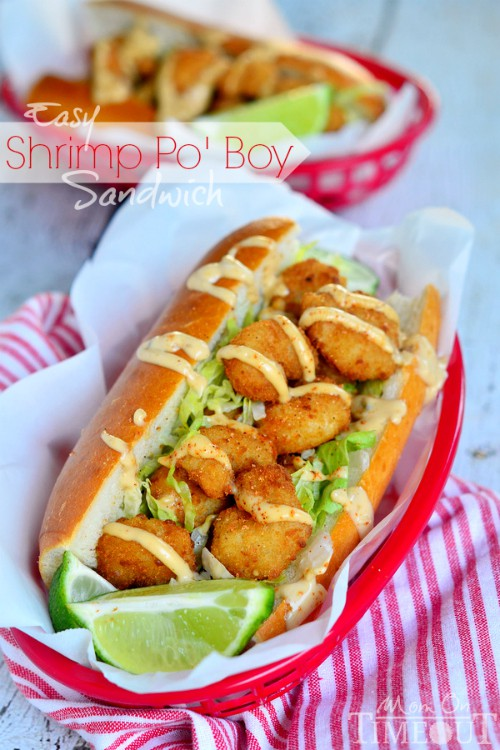 Easy Shrimp Po' Boy Sandwich via Mom on  Timeout; Meal Plans Made Simple