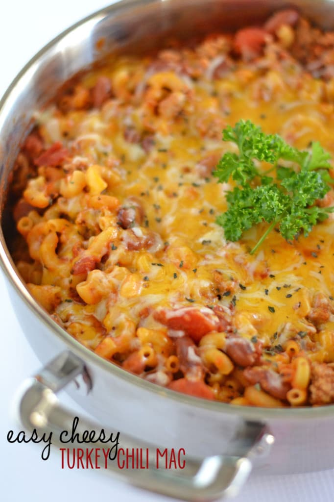 Easy Cheesy Turkey Chili Mac via Kitchen Meets Girl; Meal Plans Made Simple