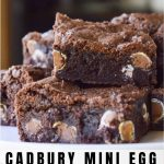 Cadbury Mini Egg Brownies image with text