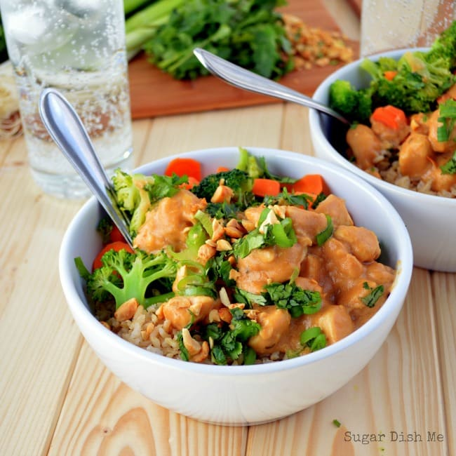 Easy Satay Skillet Chicken via www.sugardishme.com