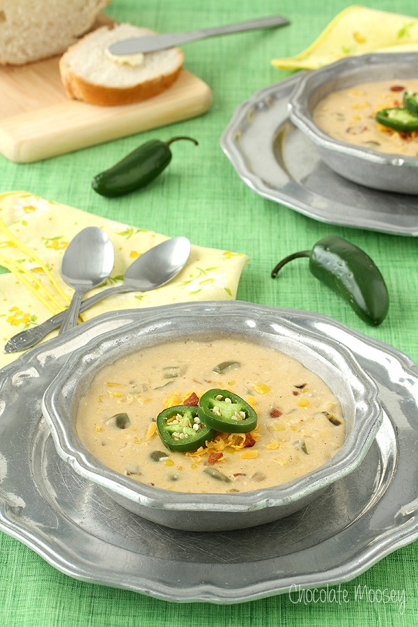 Jalapeno Popper Corn Chowder via Chocolate Moosey; Meal Plans Made Simple