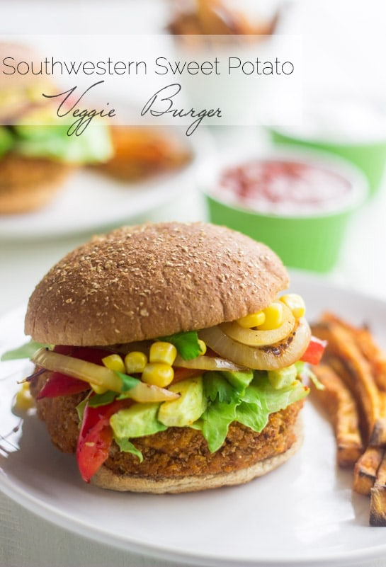 Mexican Sweet Potato Veggie Burgers via Food, Faith,  Fitness; Meal Plans Made Simple