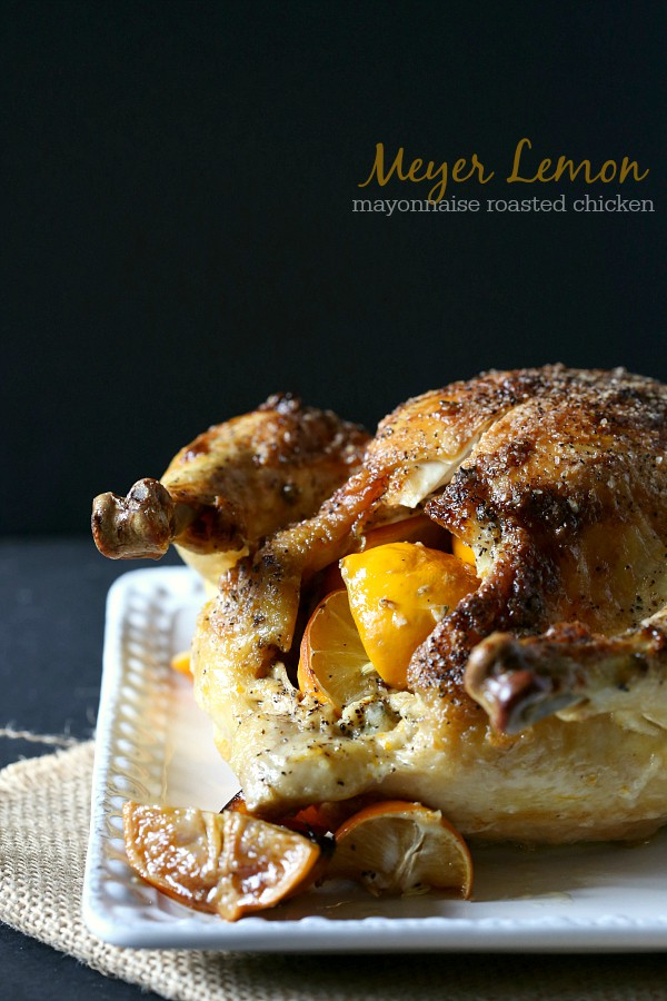 Meyer Lemon Mayonnaise Roasted Chicken via Nutmeg Nanny; Meal Plans Made Simple