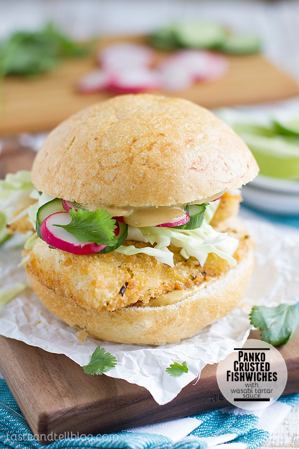 Panko-Crusted Fish Sandwich with Wasabi Tartar Sauce via Taste and Tell; Meal Plans Made Simple
