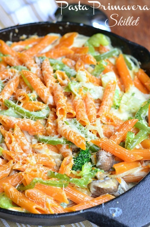 Pasta Primavera Skillet via Will Cook for Smiles; Meal Plans Made Simple