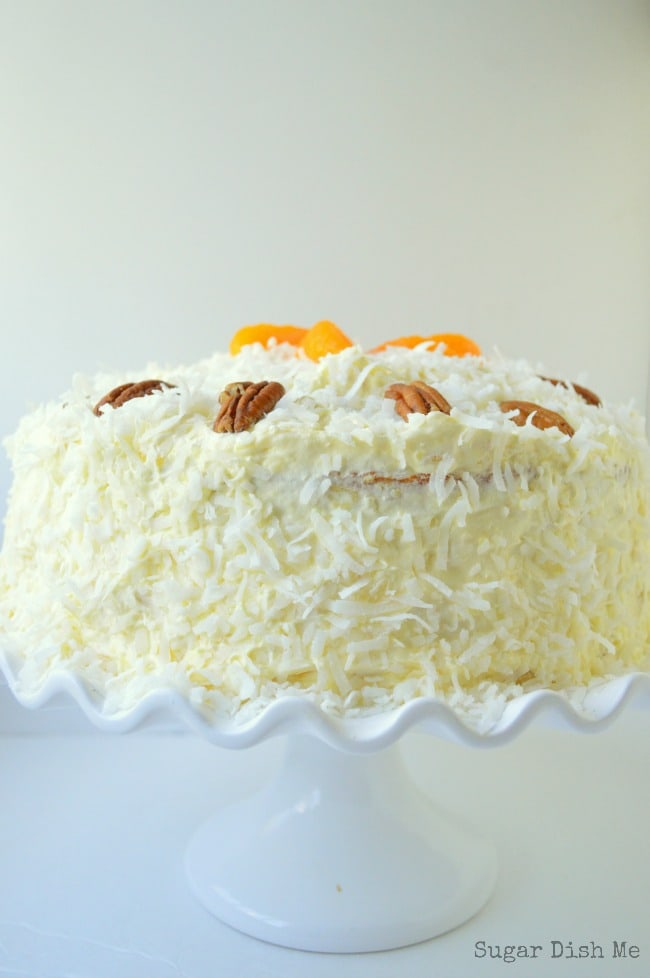 Pig Pickin Cake full of mandarin oranges, pineapple, and fluffy Cool Whip Frosting