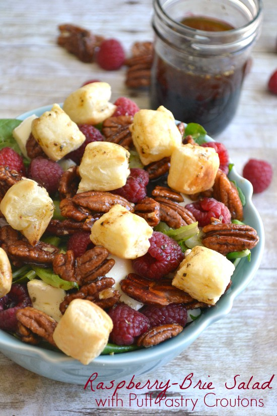 Raspberry Brie salad with Puff Pastry Croutons via Lemon Tree Dwelling; Meal Plans Made Simple