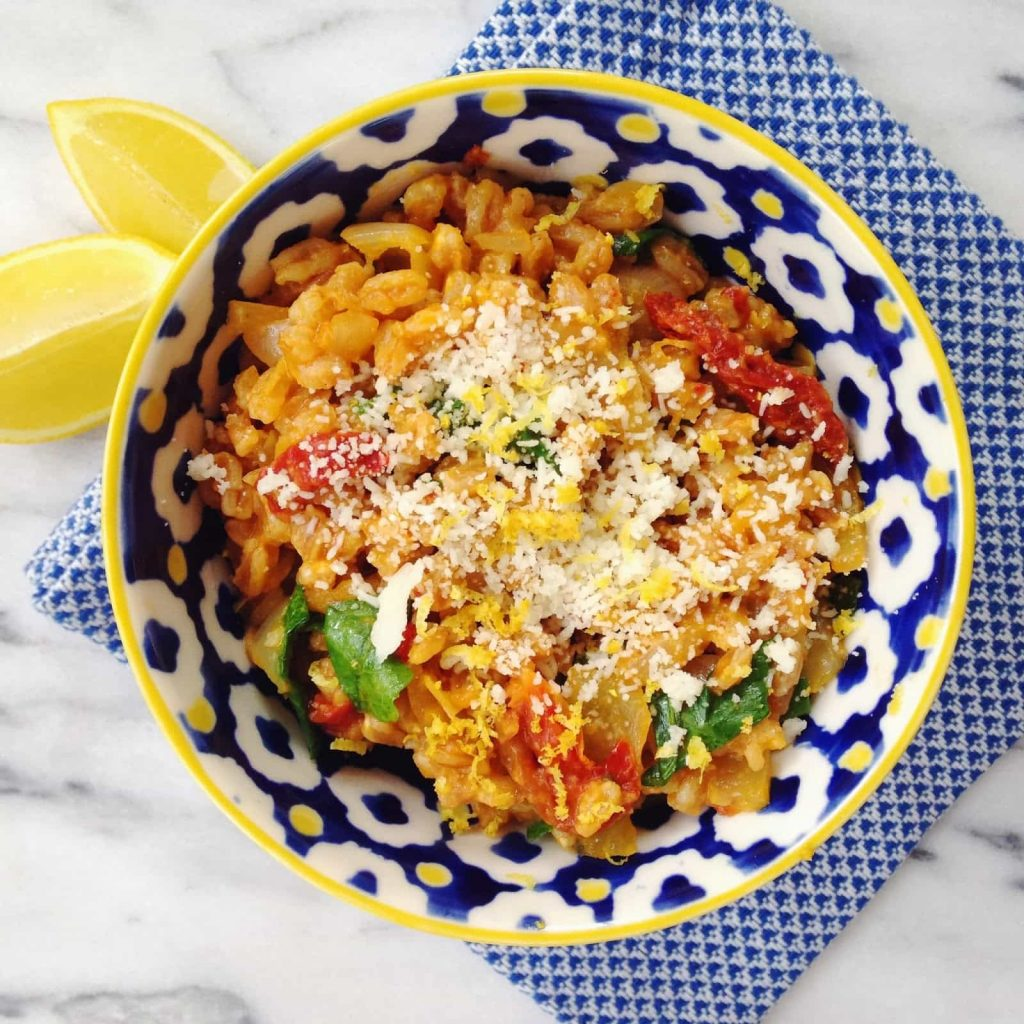 Sun-Dried Tomato And Corn Farro Risotto Recipes — Dishmaps
