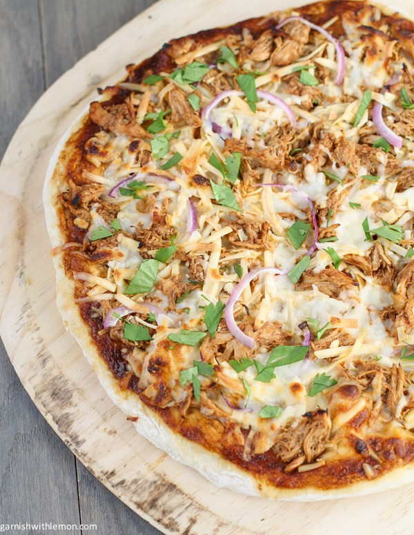BBQ Chicken Pizza via Garnish with Lemon; Meal Plans Made Simple