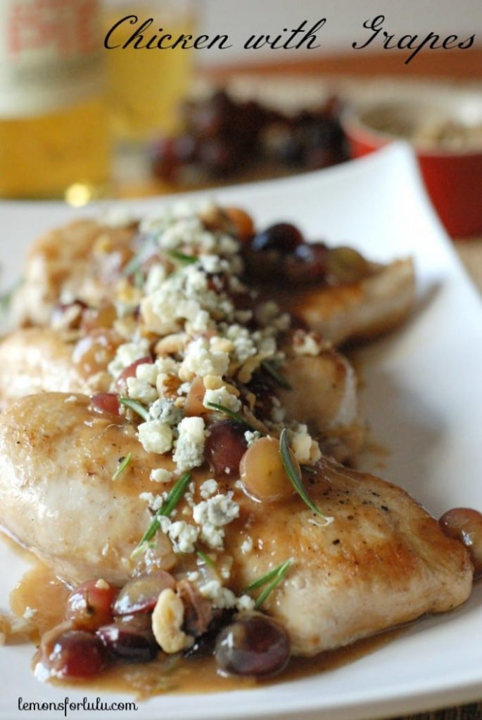 Chicken with Blue Cheese and Grapes via Lemons for Lulu; Meal Plans Made Simple