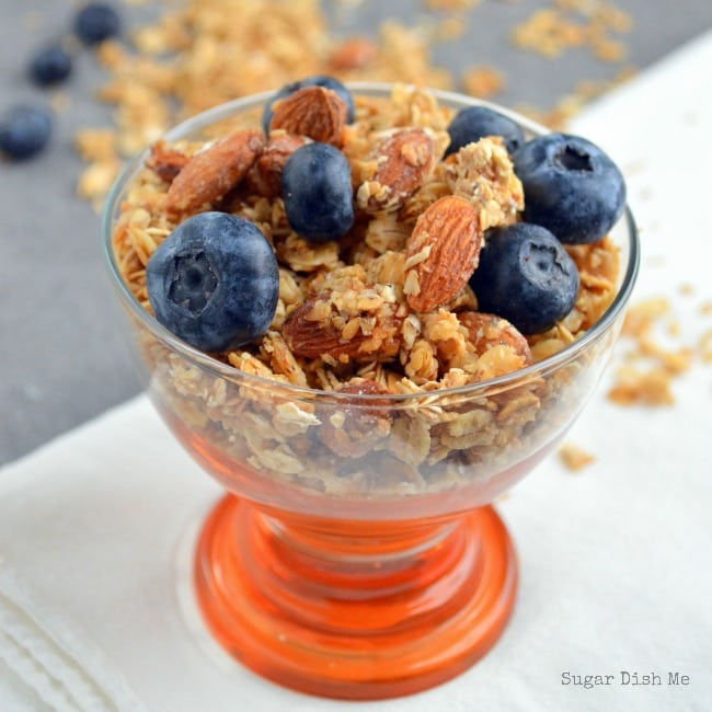 Salted Caramel Almond Granola by www.sugardishme.com