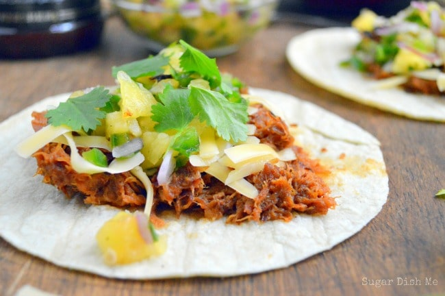 Slow Cooker BBQ Pork Tacos with Pineapple Salsa - Sugar Dish Me