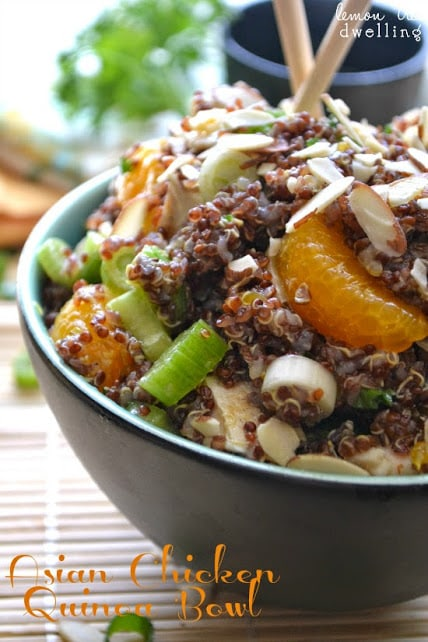 Asian Chicken Quinoa via Lemon Tree Dwelling on Meal Plans Made Simple