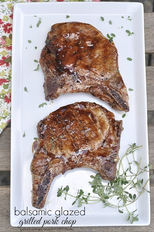 Balsamic Glazed Grilled Pork Chops via Your Home Based Mom; Meal Plans Made Simple