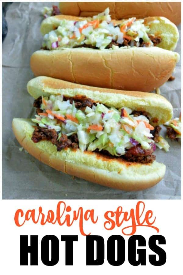 Carolina Style Hot Dogs with chili and slaw
