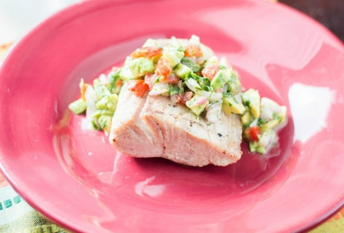 Mahi Mahi with Avocado Salsa via Macaroni and Cheesecake - Meal Plans Made Simple