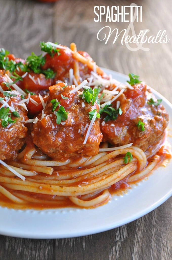 Spaghetti and Meatballs via House of Yumm on Meal Plans Made Simple