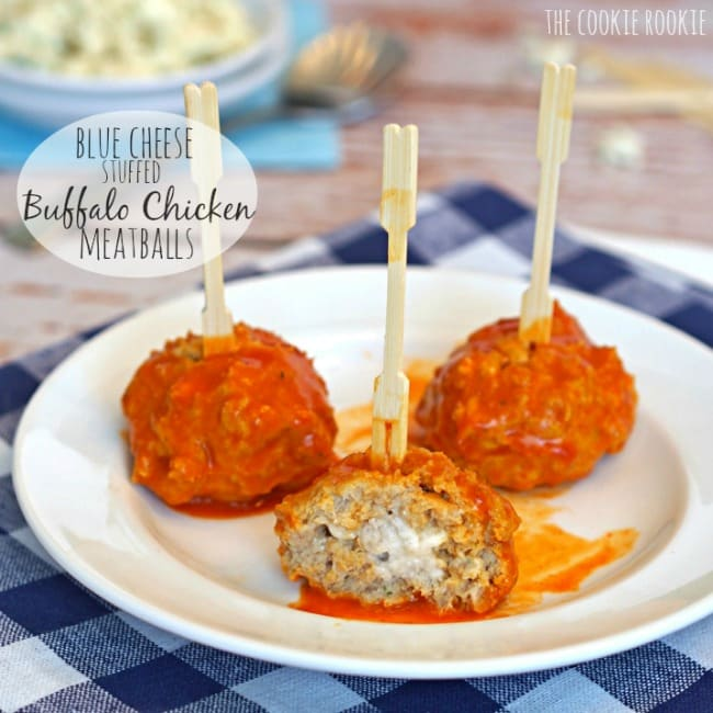 Slow Cooker Blue Cheese Stuffed Buffalo Chicken Meatballs