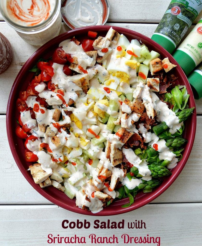 Cobb Salad with Sriracha Ranch via Souffle Bombay - Meal Plans Made Simple
