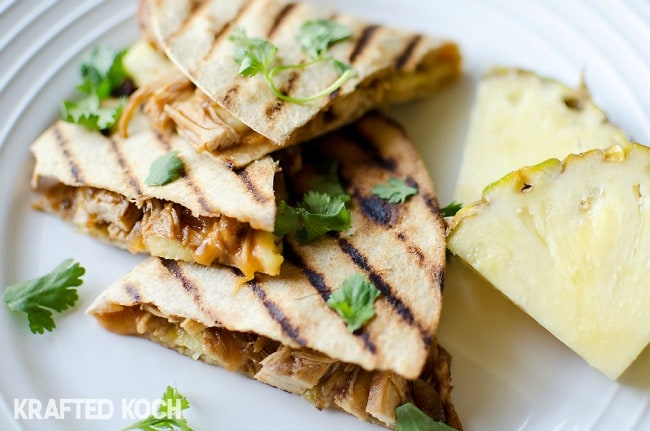 Crock Pot BBQ Chicken Quesadillas