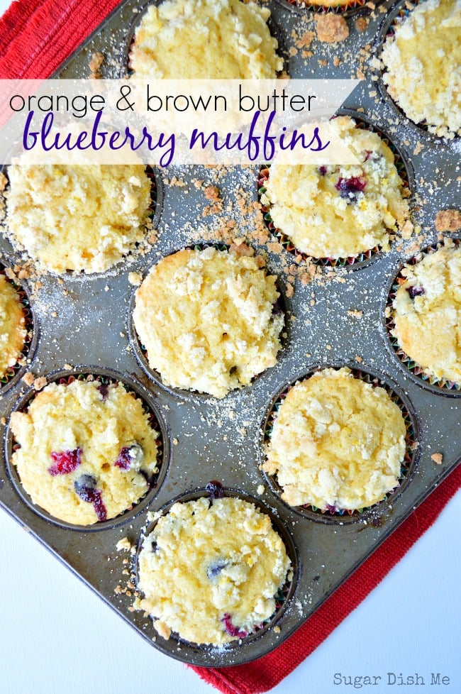 Orange and Brown Butter Blueberry Muffins - Sugar Dish Me