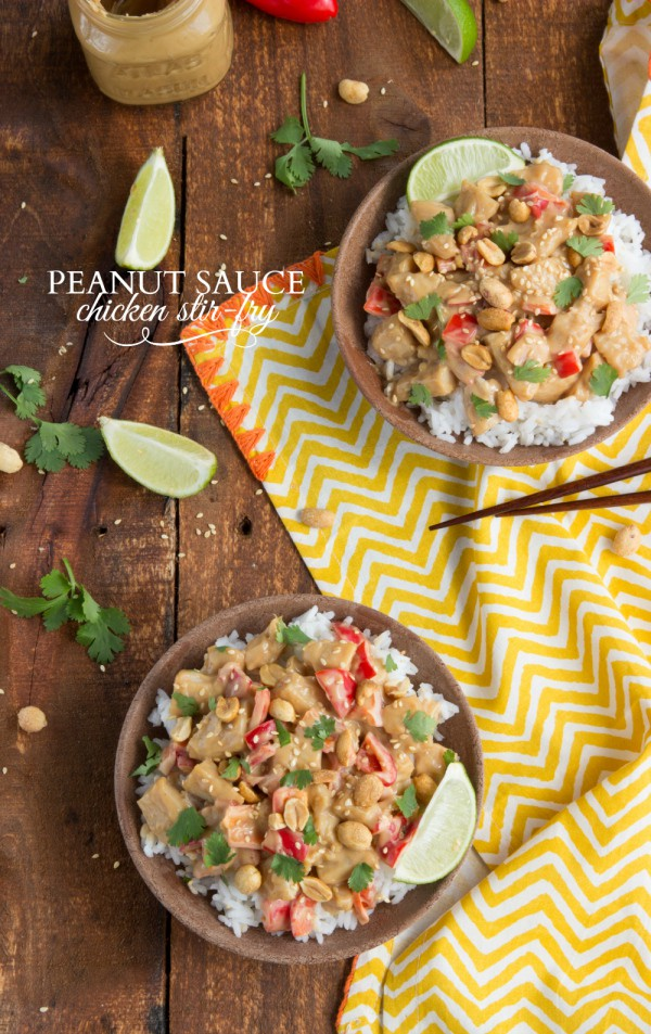 Peanut Sauce Stir Fry via Chelsea's Messy Apron - Meal Plans Made Simple