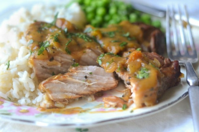 Slow Cooker Peach BBQ Smothered Pork Chops