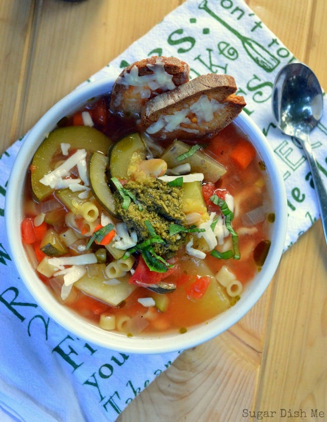 Crock Pot Summer Vegetable Soup with Pesto