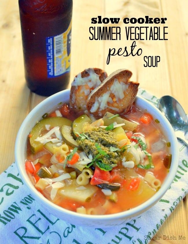 Slow Cooker Summer Vegetable Pesto Soup