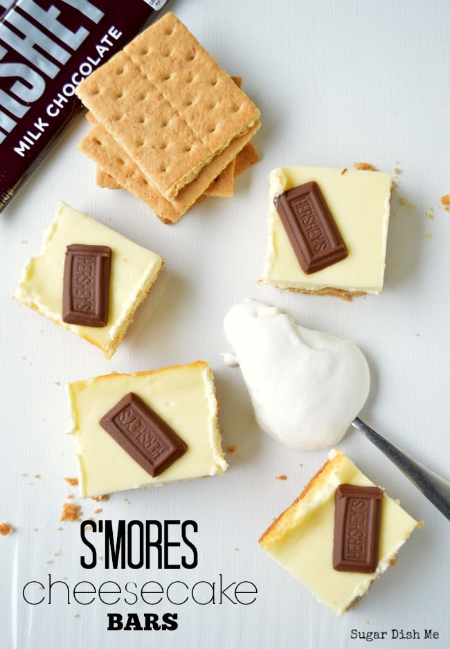 S'mores Cheesecake Bars made with marshmallow fluff