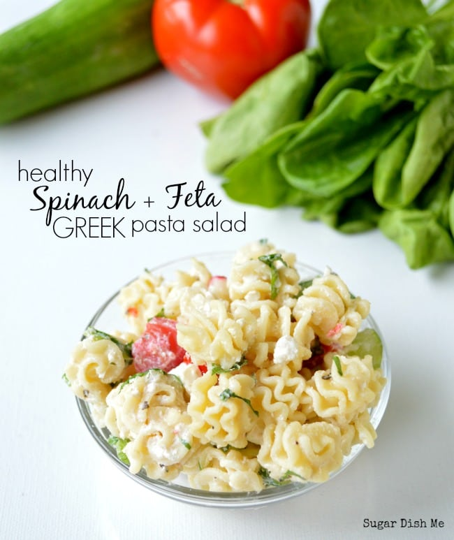 Healthy Spinach and Feta Pasta Salad