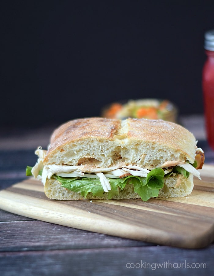 Turkey Ciabatta with Sun Dried Tomato Aioli via Cooking with Curls; Meal Plans Made Simple