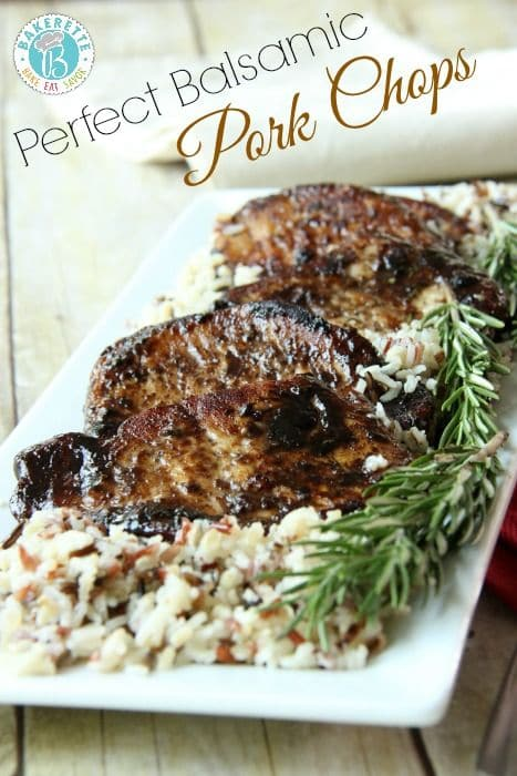 Perfect balsamic Pork Chops via Bakerette on Meal Plans Made Simple