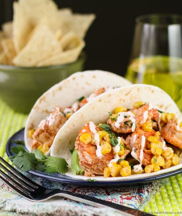 Shrimp Tacos with Chipotle Cream via Garnish with Lemon on Meal Plans Made Simple