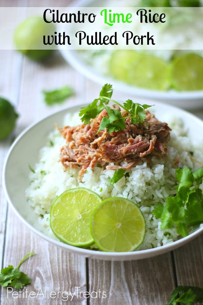 Cilantro Lime Rice with Pulled Pork via Petit Allergy Treats on Meal Plans Made Simple