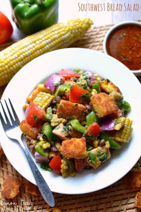 Southwest Bread salad via Lemon Tree Dwelling on Meal Plans Made Simple