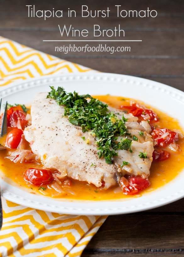Tilapia in Tomato Wine Broth via Neighborfood on Meal Plans Made Simple