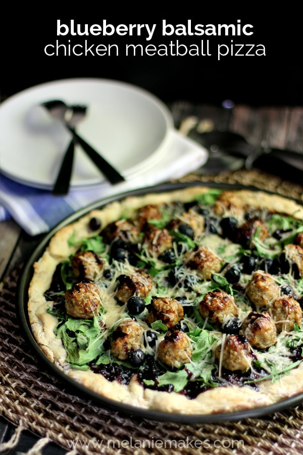 Blueberry Balsamic Chicken Meatball Pizza via Melanie Makes on Meal Plans Made Simple