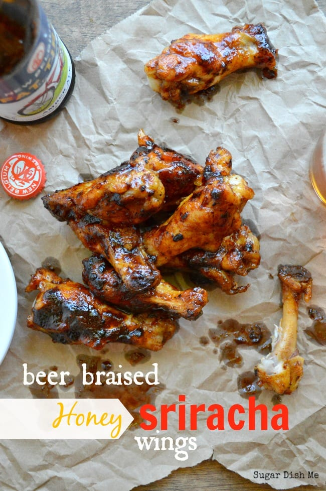 Beer Braised Honey Sriracha Wings