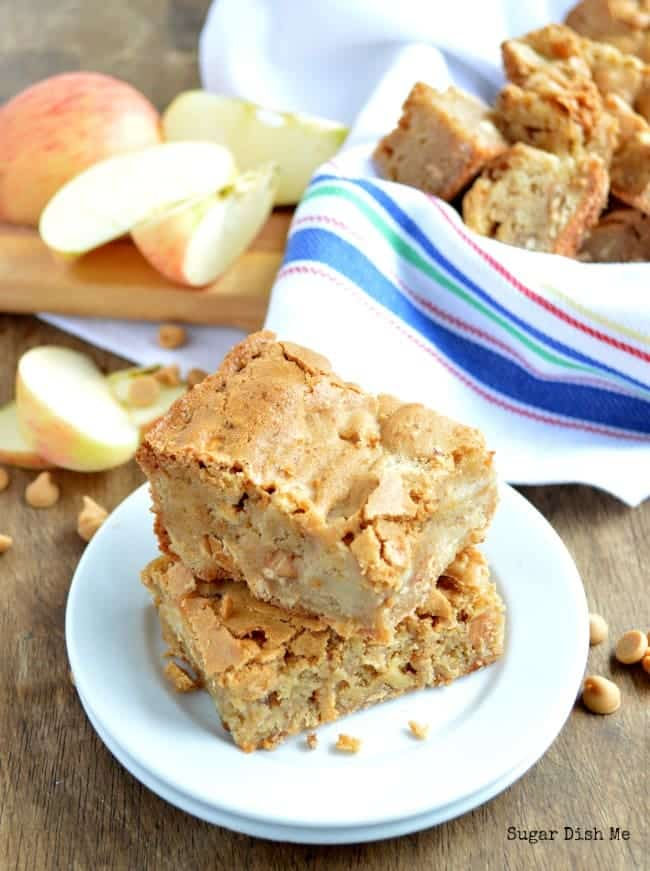 Chewy Apple Peanut Butter Bars - Sugar Dish Me