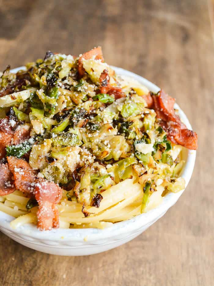 Linguine Carbonara with Bacon and Crispy Brussels Sprouts