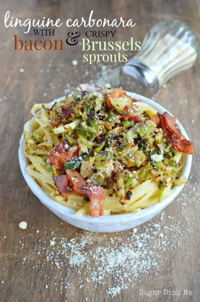 Linguine Carbonara with Brussels Sprouts