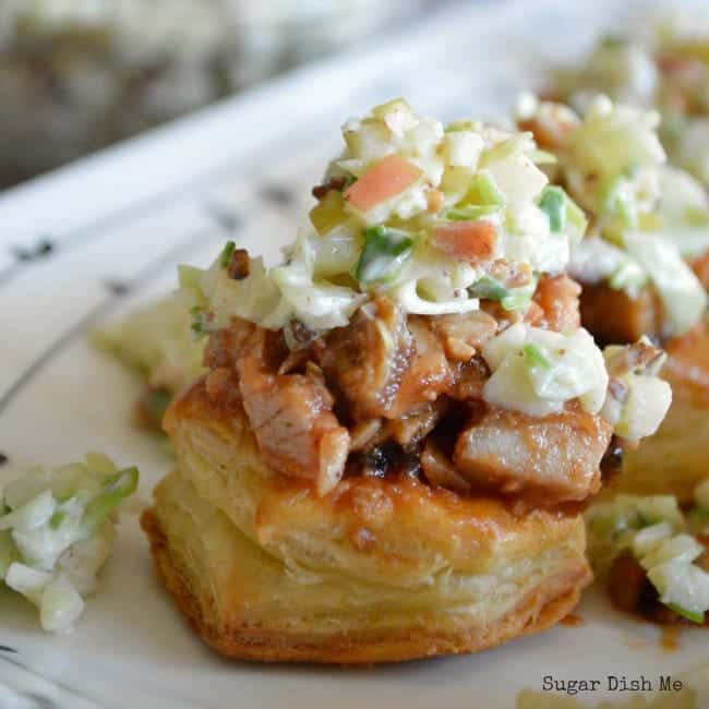 Pulled Pork Puff Pastries with  Apple Bacon Slaw