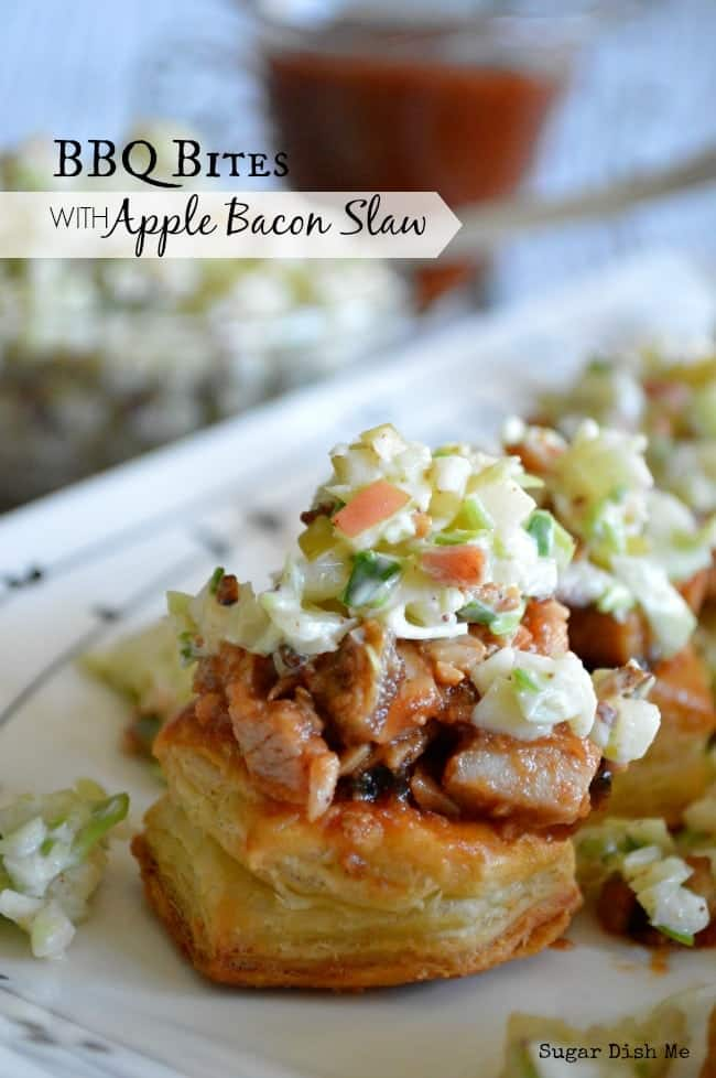 BBQ Pork Bites with Apple Bacon Slaw
