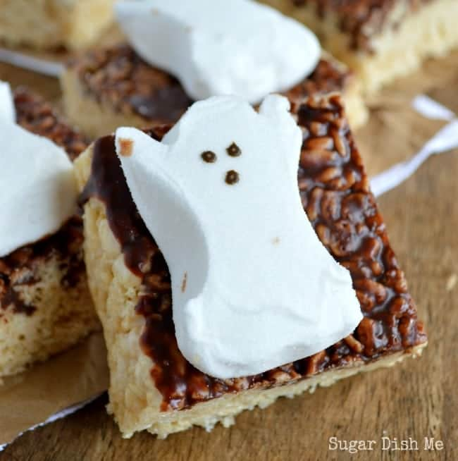 Halloween Krispy Treats with Ghost Peeps