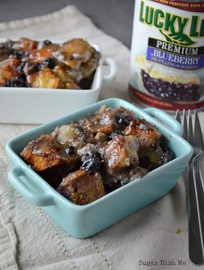 Blueberries and Cream Bread Pudding with Whiskey Butter Sauce