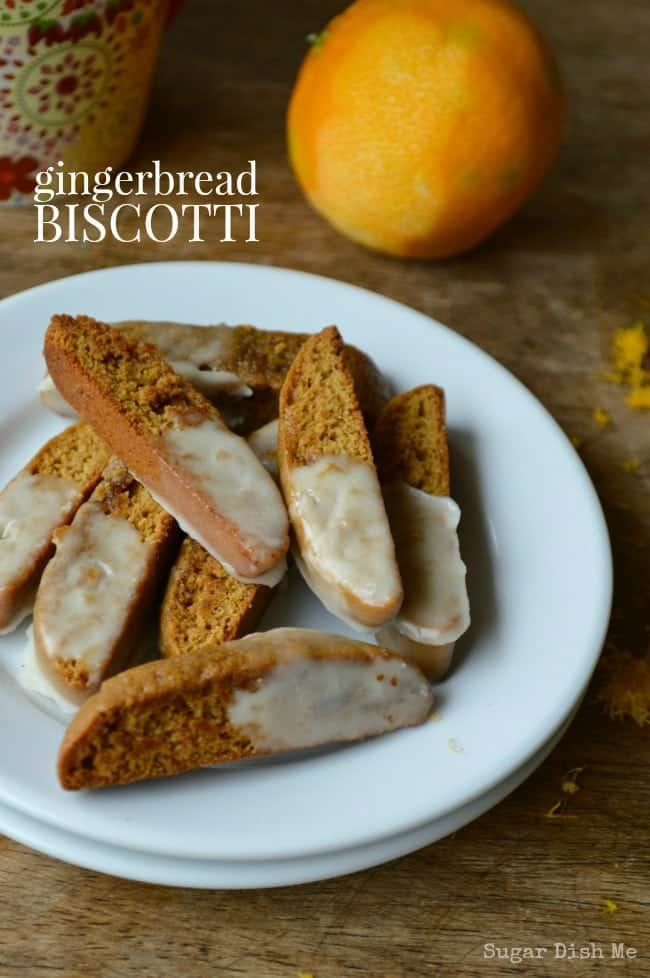 Gingerbread Biscotti with Sweet Orange Glaze