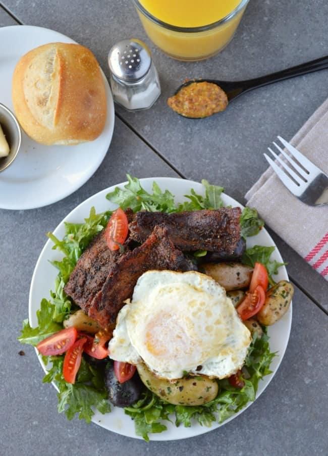 Bacon and Egg Breakfast Salad with Maple Dijon Vinaigrette