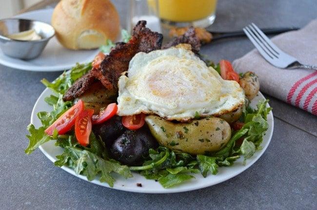Breakfast Salad with Maple Dijon Vinaigrette