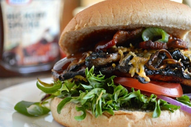Grilled Barbecue Chicken Sandwich Recipe with Mushrooms, Bacon, and Cheese